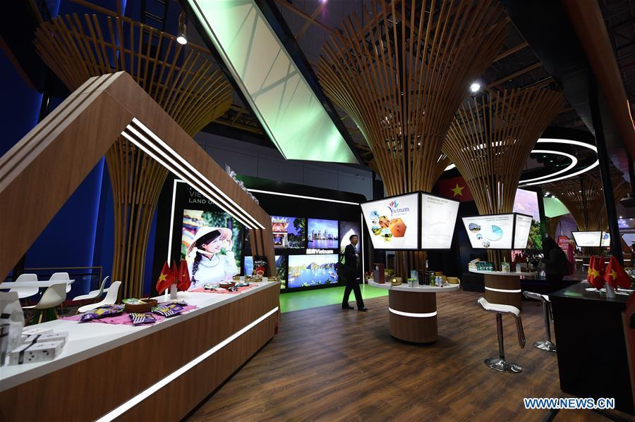 Photo taken on Nov. 5, 2018 shows the Vietnam pavilion during the first China International Import Expo (CIIE) in Shanghai, east China. A total of 82 countries and three international organizations showcased their achievements in economic and trade development as well as competitive products at 71 booths in the Country Pavilion for Trade and Investment at the CIIE. (Xinhua/Han Yuqing)