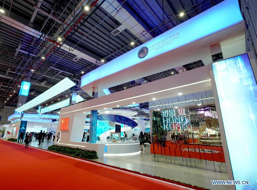 The China Pavilion is seen at the first China International Import Expo (CIIE) in Shanghai, east China, Nov. 5, 2018. A total of 82 countries and three international organizations showcased their achievements in economic and trade development as well as competitive products at 71 booths in the Country Pavilion for Trade and Investment at the CIIE. (Xinhua/Chen Jianli)