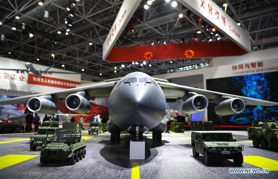 Photo taken on Nov. 5, 2018 shows a Y-20 model at the AVIC (Aviation Industry Corporation of China, Ltd.) exhibition area of the upcoming China International Aviation and Aerospace Exhibition in Zhuhai, south China\'s Guangdong Province. The exhibition is scheduled to be held on Nov. 6-11. (Xinhua/Deng Hua)