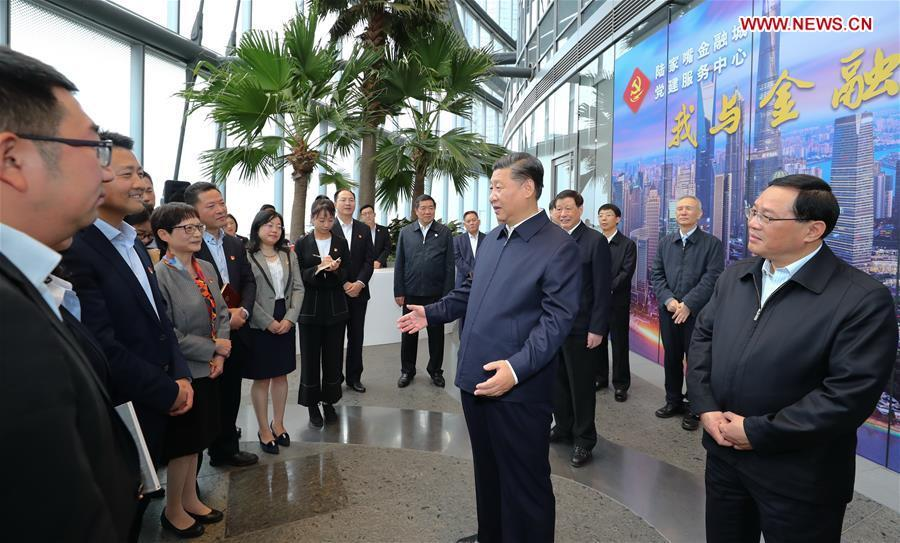 Xi Jinping, general secretary of the Communist Party of China (CPC) Central Committee, Chinese president and chairman of the Central Military Commission, speaks while inspecting the Lujiazui Financial City CPC construction service center in the Shanghai Tower to learn the CPC construction work of the skyscrapers in Pudong New District of Shanghai, east China, Nov. 6, 2018. Xi Jinping inspected Shanghai on Tuesday. (Xinhua/Xie Huanchi)
