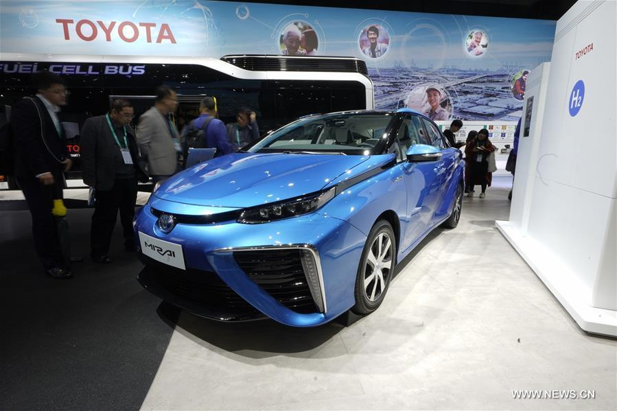 Photo taken on Nov. 7, 2018 shows Mirai hydrogen fuel cell vehicle of Toyota at the first China International Import Expo (CIIE) in Shanghai, east China. (Xinhua/Xing Guangli)