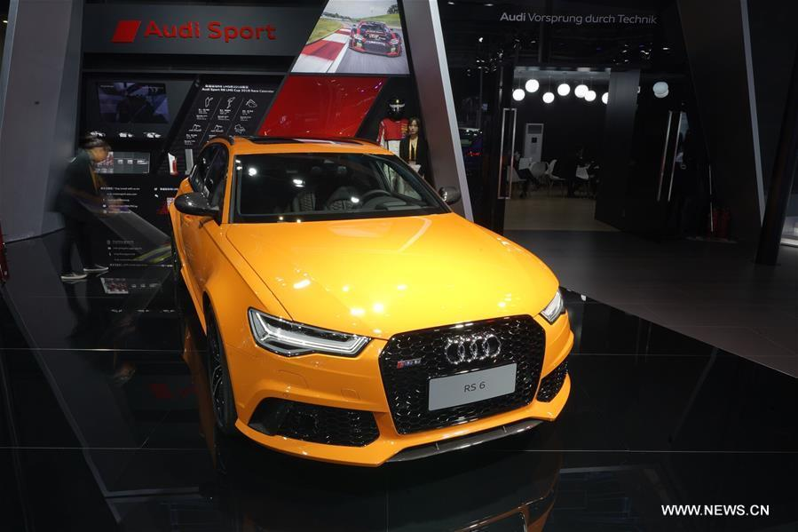 Photo taken on Nov. 7, 2018 shows a RS 6 of Audi at the first China International Import Expo (CIIE) in Shanghai, east China. (Xinhua/Xing Guangli)