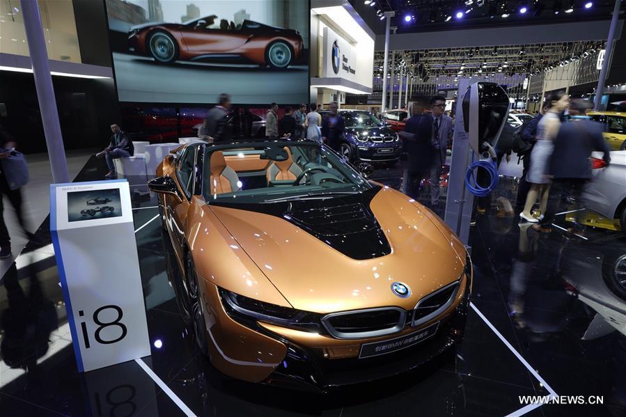 Photo taken on Nov. 7, 2018 shows a BMW i8 plug-in hybrid sports car at the first China International Import Expo (CIIE) in Shanghai, east China. (Xinhua/Xing Guangli)