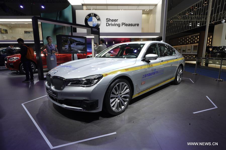 Photo taken on Nov. 7, 2018 shows a L4 autonomous driving test car of BMW 7 Series at the first China International Import Expo (CIIE) in Shanghai, east China. (Xinhua/Xing Guangli)