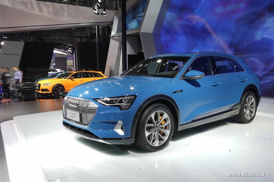Photo taken on Nov. 7, 2018 shows a e-tron SUV at the booth of Audi during the first China International Import Expo (CIIE) in Shanghai, east China. (Xinhua/Xing Guangli)