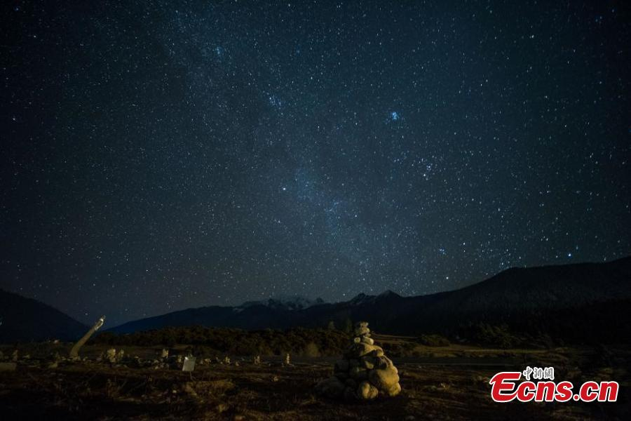 The photo taken in November 7, 2018 shows starry night over Lulang County, Nyingchi, southwest China\'s Tibet Autonomous Region. (Photo: China News Service/He Penglei)