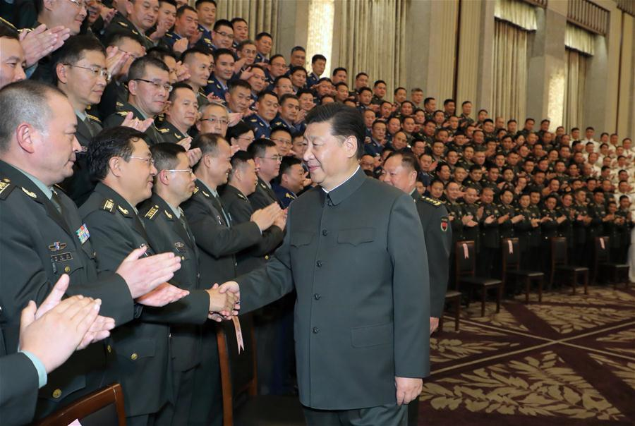 Chinese President Xi Jinping, also general secretary of the Communist Party of China Central Committee and chairman of the Central Military Commission, meets with senior military officers stationed in east China\'s Shanghai, Nov. 6, 2018. Xi Jinping made a two-day inspection in Shanghai, which ended on Wednesday. (Xinhua/Li Gang)