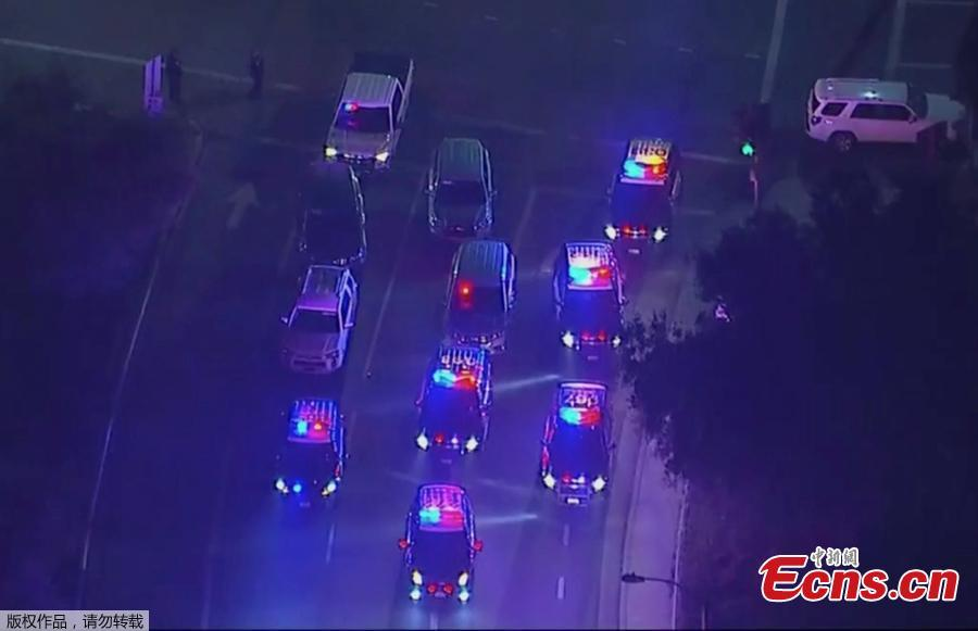 In this image made from aerial video, police vehicles block an intersection in the vicinity of a shooting in Thousand Oaks, California, early Thursday, Nov. 8, 2018. At least 12 people were killed and multiple people were injured after a man opened fire in Southern California bar late Wednesday. The gunman killed himself at the spot. (Photo/Agencies)