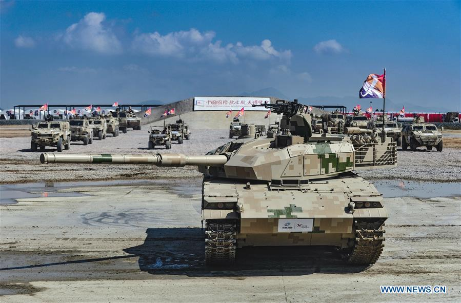 Photo taken on Nov. 7, 2018 shows armored vehicles after a dynamic display of ground military equipments at the 12th China International Aviation and Aerospace Exhibition (Airshow China) in Zhuhai, south China\'s Guangdong Province. (Xinhua/Yang Guang)