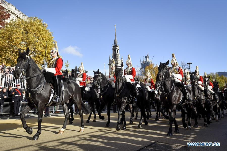 Royal Horse Artillery takes part in the Lord Mayor\'s Show in London, Britain, on Nov. 10, 2018. As the elected head of the City of London Corporation, the 691st Lord Mayor of the City of London Peter Estlin will serve as a global ambassador for the UK-based financial and professional services industry for a one-year term. (Xinhua/Stephen Chung)