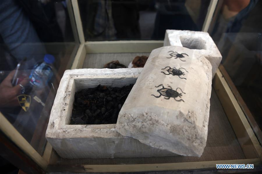 Photo taken on Nov. 10, 2018 shows the mummified scarabs in Saqqara Necropolis, Giza Province, Egypt. Egypt\'s Minister of Antiquities Khaled al-Anany announced Saturday the discovery of seven pharaonic tombs in Saqqara Necropolis. (Xinhua/Ahmed Gomaa)