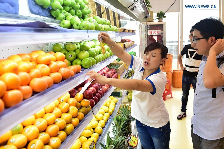 A staff member introduces imported fruits to a customer at the Anhui provincial imported goods direct selling center in Hefei, capital of east China\'s Anhui Province, July 31, 2016. (Xinhua/Liu Junxi)