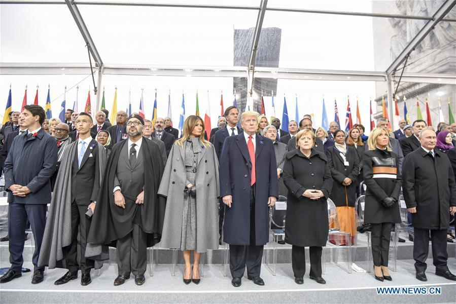 Russian President Vladimir Putin (1st R, Front), German Chancellor Angela Merkel (3rd R, Front) and U.S. President Donald Trump (4th R, Front) attend a ceremony to mark the centenary of the Armistice of the First World War in Paris, France, Nov. 11, 2018. (Xinhua/Chen Yichen)