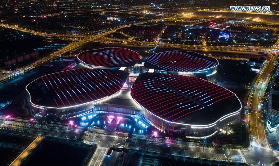 Photo taken on Oct. 21, 2018 shows the National Exhibition and Convention Center (Shanghai), the main venue of the First China International Import Expo (CIIE) in Shanghai, east China. (Xinhua/Ding Ting)