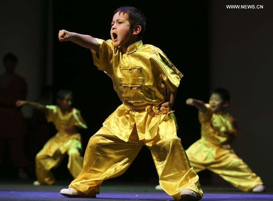 A group of martial arts students perform during \