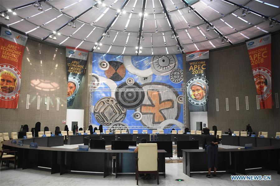 Photo taken on Nov. 9, 2018 shows the internal view of the International Convention Center in Port Moresby, Papua New Guinea. Leaders from the Asia-Pacific economies are gathering in Port Moresby, the capital of Papua New Guinea for the Asia-Pacific Economic Cooperation (APEC) Leaders\' Week on Nov. 12-18. (Xinhua/Lui Siu Wai)