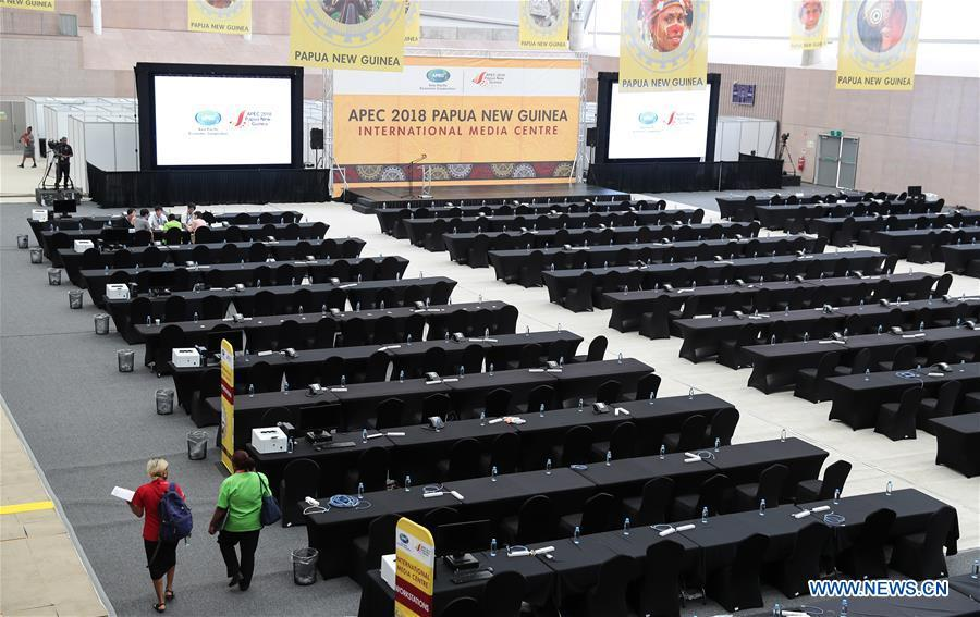 Photo taken on Nov. 13, 2018 shows the APEC 2018 International Media Centre in Port Moresby, Papua New Guinea (PNG). PNG, comprising about 600 small islands, is the host of the APEC meetings this year. The media centre opened to journalists on Monday and will be in use until Nov. 18. (Xinhua/Bai Xuefei)