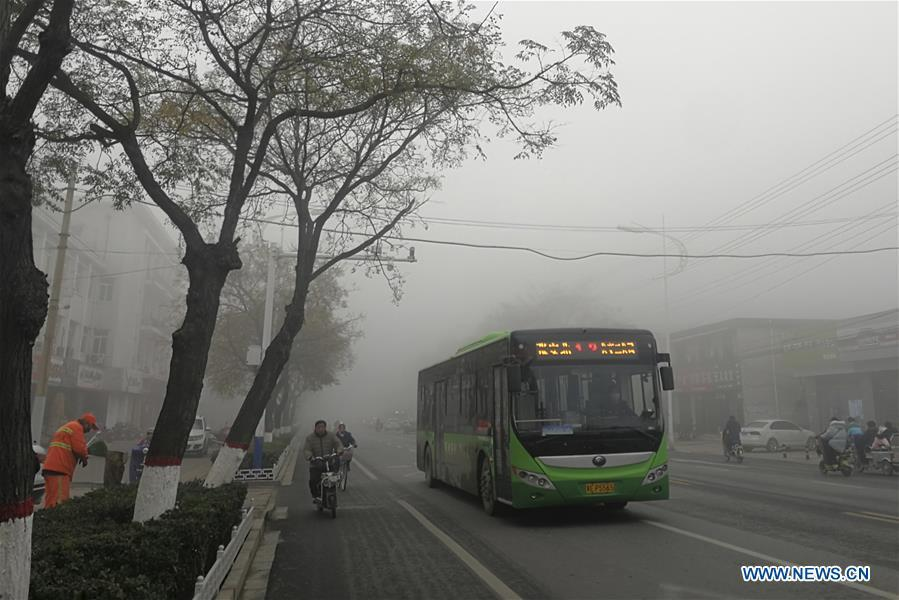 Photo taken on Nov. 13, 2018 shows vehicles and citizens moving in thick fog in Xingtai, north China\'s Hebei Province. (Xinhua/Huang Tao)