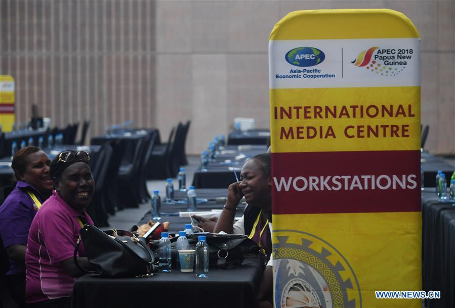 Photo taken on Nov. 13, 2018 shows the APEC 2018 International Media Centre in Port Moresby, Papua New Guinea (PNG). PNG, comprising about 600 small islands, is the host of the APEC meetings this year. The media centre opened to journalists on Monday and will be in use until Nov. 18. (Xinhua/Lui Siu Wai)