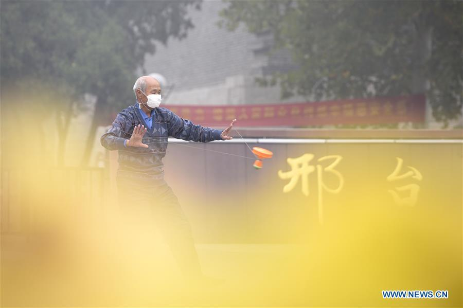 A citizen is seen doing morning exercise in a park in thick fog in Xingtai, north China\'s Hebei Province, Nov. 13, 2018. (Xinhua/Chen Lei)