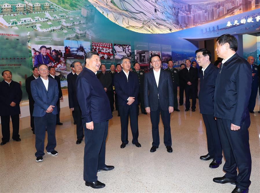 Chinese President Xi Jinping, also general secretary of the Communist Party of China (CPC) Central Committee and chairman of the Central Military Commission, visits a major exhibition to commemorate the 40th anniversary of China\'s reform and opening-up at the National Museum of China in Beijing, capital of China, Nov. 13, 2018. Li Zhanshu, Wang Yang, Wang Huning, Zhao Leji, Han Zheng and Wang Qishan also visited the exhibition. (Xinhua/Xie Huanchi)