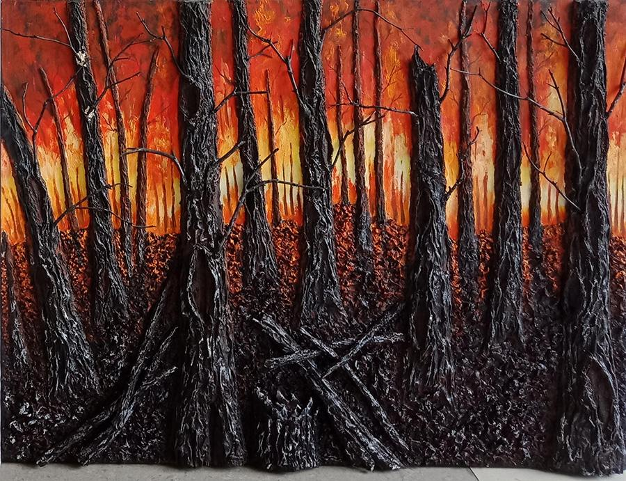 A burning forest (Photo provided to China Daily)