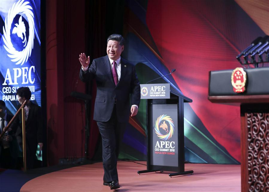 Chinese President Xi Jinping enters the venue of the Asia Pacific Economic Cooperation (APEC) CEO Summit in Port Moresby, Papua New Guinea, on Nov. 17, 2018. Xi delivered a keynote speech titled Jointly Charting a Course Toward a Brighter Future while attending the summit. (Xinhua/Ding Lin)