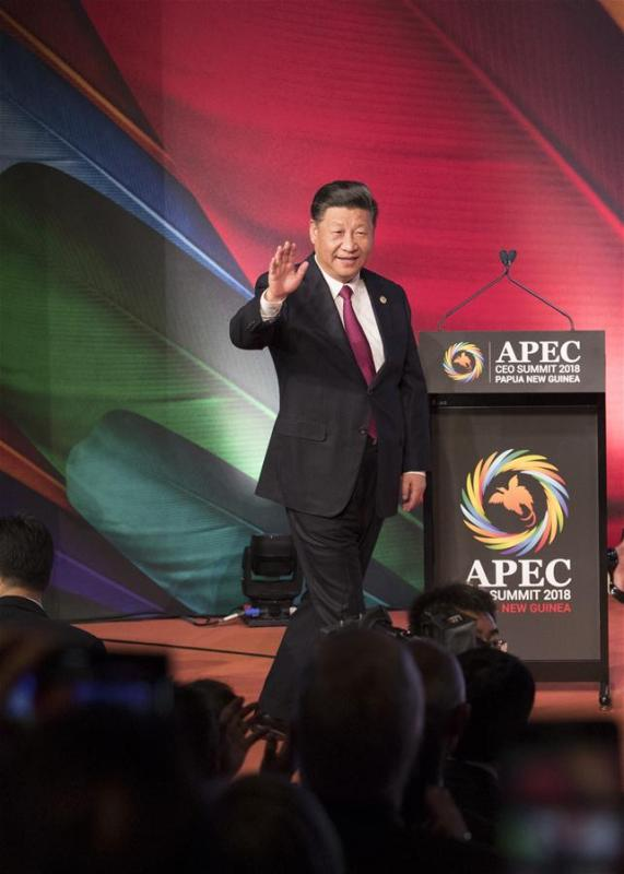 Chinese President Xi Jinping enters the venue of the Asia Pacific Economic Cooperation (APEC) CEO Summit in Port Moresby, Papua New Guinea, on Nov. 17, 2018. Xi delivered a keynote speech titled Jointly Charting a Course Toward a Brighter Future at the summit. (Xinhua/Huang Jingwen)