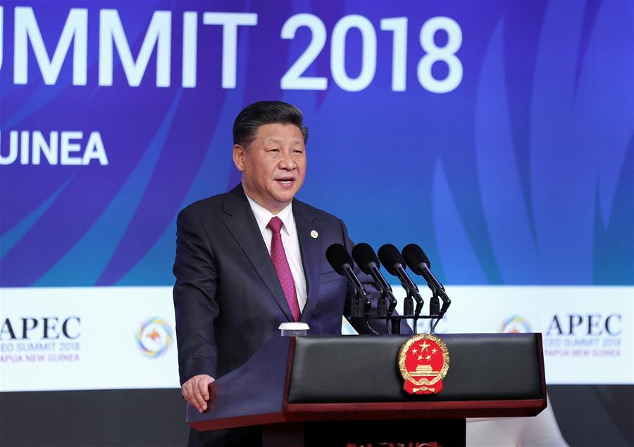 Chinese President Xi Jinping delivers a keynote speech titled Jointly Charting a Course Toward a Brighter Future while attending the Asia Pacific Economic Cooperation (APEC) CEO Summit in Port Moresby, Papua New Guinea, on Nov. 17, 2018. (Xinhua/Ju Peng)