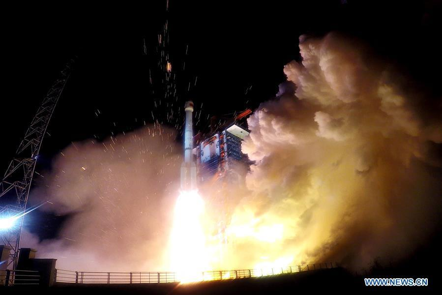 China sends two new satellites of the BeiDou Navigation Satellite System (BDS) into space on a Long March-3B carrier rocket from the Xichang Satellite Launch Center in southwest China\'s Sichuan Province, at 2:07 a.m. on Nov. 19, 2018. (Xinhua/Ju Zhenhua)