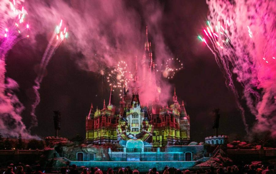 Mickey's birthday was brought to a close with a unique projection show at the castle, followed by a routine fireworks display.
