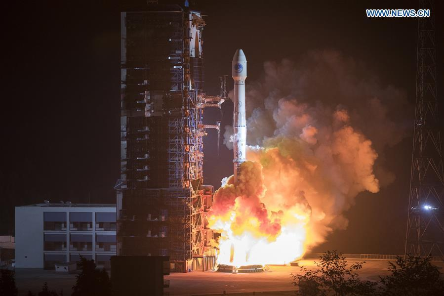 China sends two new satellites of the BeiDou Navigation Satellite System (BDS) into space on a Long March-3B carrier rocket from the Xichang Satellite Launch Center in Sichuan Province at 2:07 a.m. on Nov. 19, 2018. (Xinhua/Ju Zhenhua)