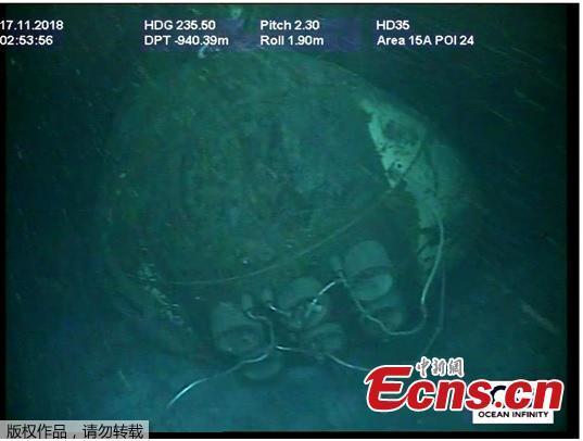 Handout picture released by Argentina\'s Navy press office on November 17, 2018, showing the wreckage of the ARA San Juan submarine located one year after it vanished into the depths of the Atlantic Ocean. - Authorities confirmed the wreckage of the ARA San Juan submarine was found at 907 meters (2,975 feet) of depth, some 500 km from the southern city of Comodoro Rivadavia. (Photo/Agencies)