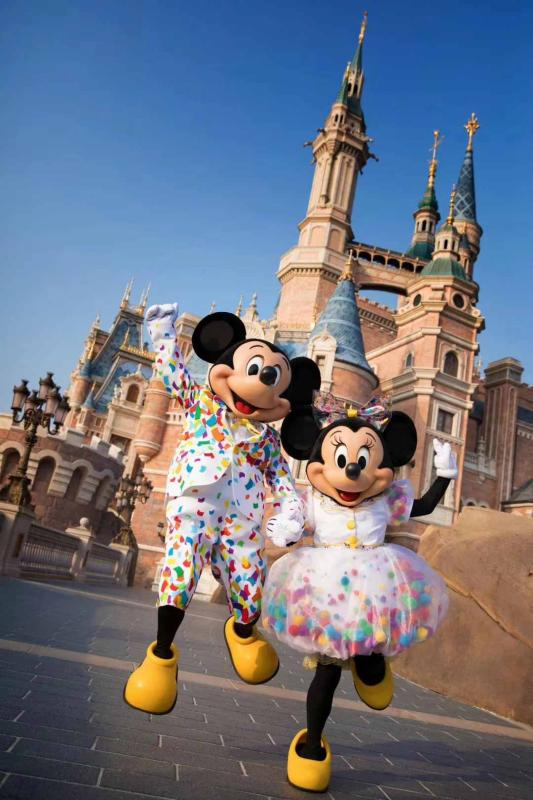 Mickey and its companion Minnie Mouse at the Shanghai Disney Resort.