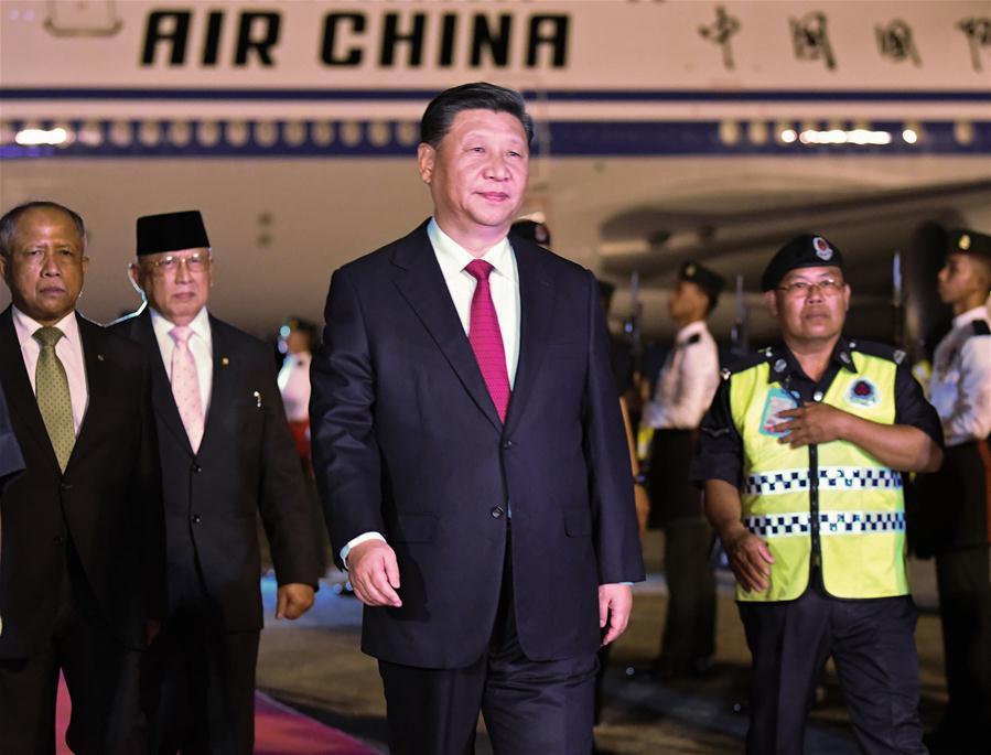 Chinese President Xi Jinping arrives in Bandar Seri Begawan for a state visit to Brunei on Nov. 18, 2018. (Xinhua/Yan Yan)