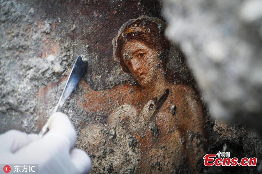 Photo taken on November 19, 2018 shows an image of the fresco \