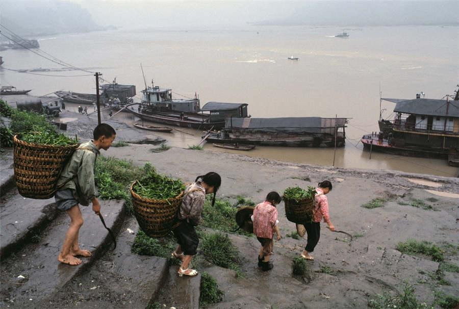 Four friends walk to the bank of the Changshou River in Chongqing in 1980. (Photo provided to chinadaily.com.cn)