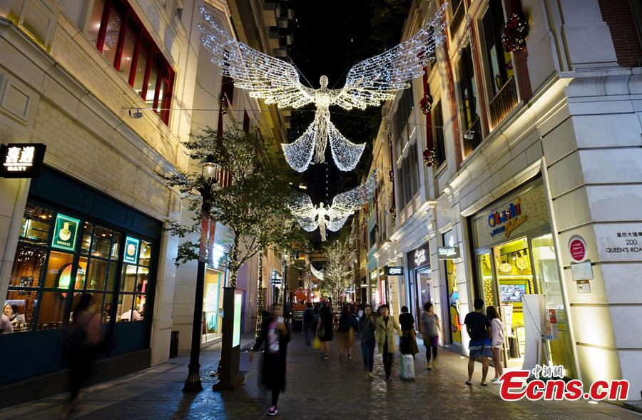 With one month to go until Christmas, Lee Dong Street in Hong kong introduces the famous Regent Street Christmas lighting from London for the first time this year on Nov. 19, 2018. (Photo: China News Service/Zhang Wei)