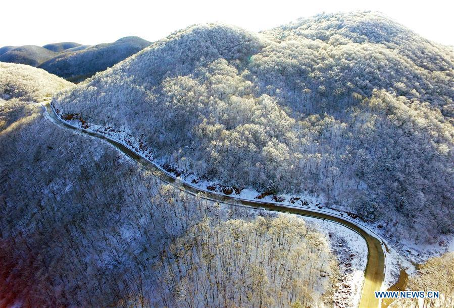 Aerial photo taken on Nov. 18, 2018 shows snow scenery at Dashui forest in Longping Town, Baokang County, central China\'s Hubei Province. (Xinhua/Yang Tao)