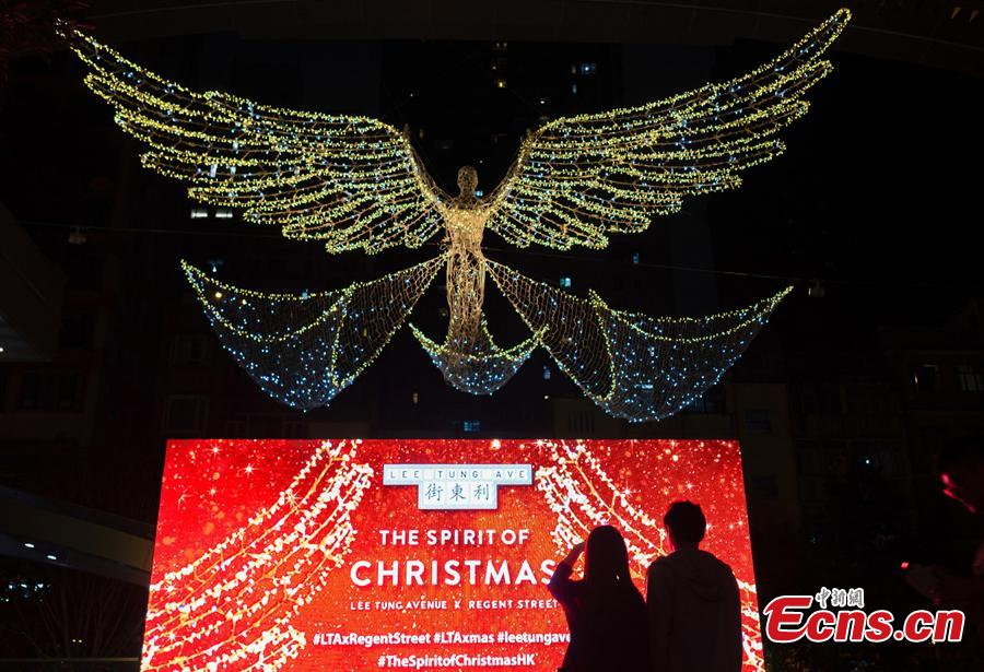 With one month to go until Christmas, Lee Dong Street in Hong Kong introduced the famous Regent Street Christmas lighting from London for the first time this year on Nov. 19, 2018. (Photo: China News Service/Zhang Wei)