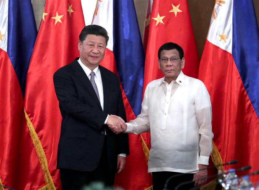 Chinese President Xi Jinping holds talks with his Philippine counterpart Rodrigo Duterte in Manila, the Philippines, Nov. 20, 2018. (Xinhua/Xie Huanchi)
