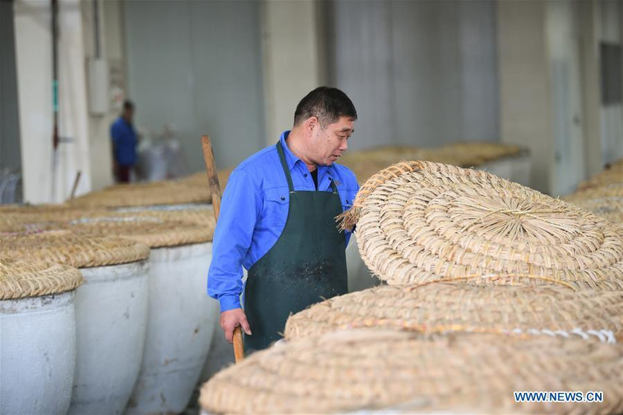 A worker checks the fermenting situation of rice wine at Shaoxing Nuerhong Winery Company in Shaoxing, east China\'s Zhejiang Province, Nov. 21, 2018. The company maintains its traditional rice wine brewing method, which is composed of nearly 20 processing steps. (Xinhua/Weng Xinyang)
