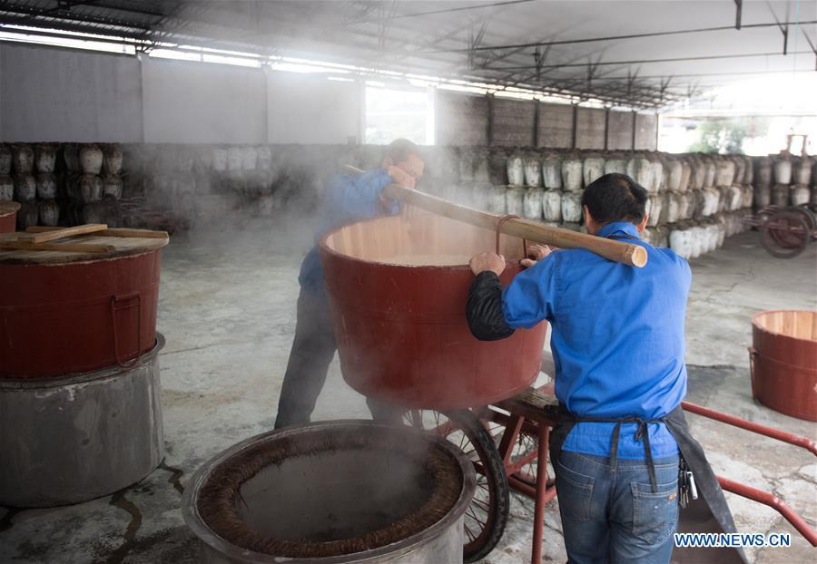 Workers convey the cooked rice to make wine at Shaoxing Nuerhong Winery Company in Shaoxing, east China\'s Zhejiang Province, Nov. 21, 2018. The company maintains its traditional rice wine brewing method, which is composed of nearly 20 processing steps. (Xinhua/Weng Xinyang)