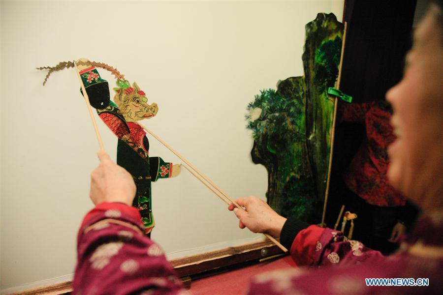 Zhang Kunrong practices in a shadow puppetry show in Haining City, east China\'s Zhejiang Province, Nov. 20, 2018. Zhang Kunrong, 79, a locally born shadow puppetry player, is an inheritor of the Haining shadow puppetry, a form of traditional theatre acted by colorful silhouette figures made from leather or paper, accompanied by music and singing. A typical variety popular in south China, Haining shadow puppetry, a national intangible cultural heritage, has a history of about 900 years dating back to the Southern Song Dynasty (AD 1127-1279). Obsessed with the shadow play since childhood, Zhang Kunrong was recruited to the provincial shadow puppetry troupe in 1958 and soon became a mainstay after two year\'s practice and in the later years staged performances at home and abroad as Haining shadow puppetry grows popular. Nowadays, Zhang works more on script writing, directing and teaching apprentices. Haining shadow puppetry was listed as one of the state-level intangible cultural heritages in 2006 and was included in the UNESCO Intangible Cultural Heritage of Humanity list in 2011. (Xinhua/Zhu Weixi)