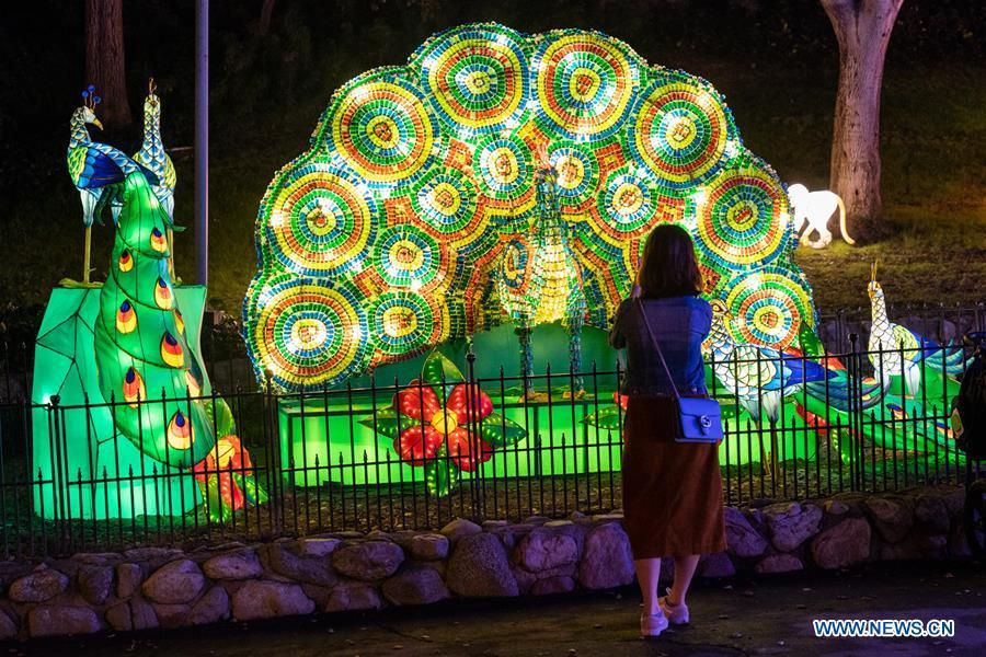 People view light installations during the Chinese lantern festival with the theme of \