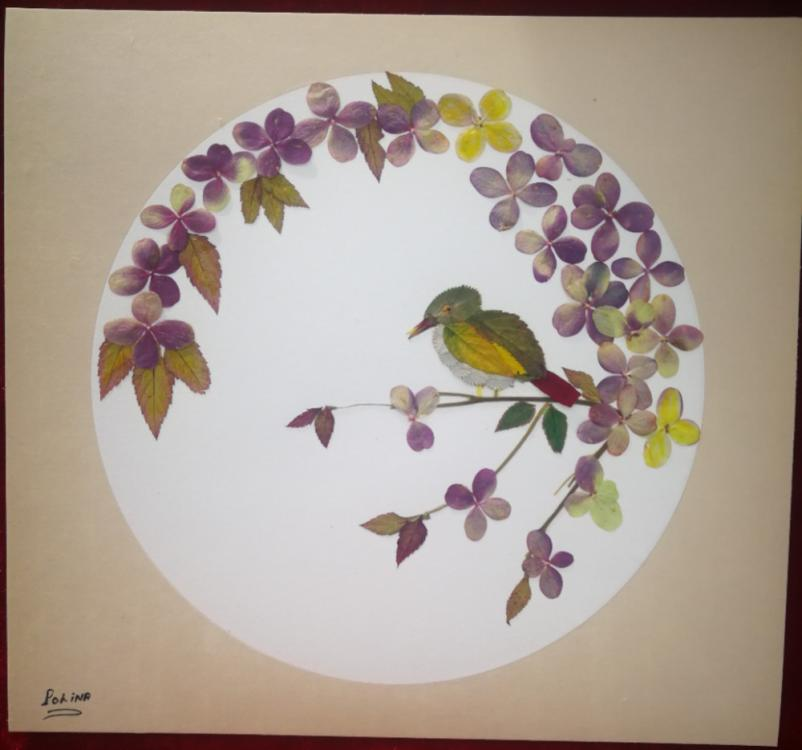 An artwork made of pressed flower by Liu Xianghuan. (Photo provided to chinadaily.com.cn)  Her artworks have become popular at home and abroad.