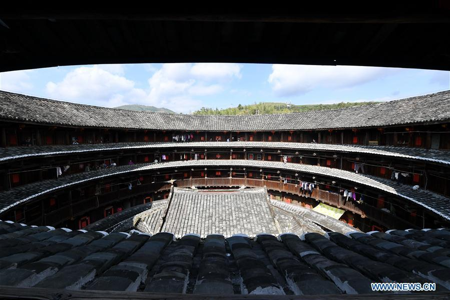 Photo taken on Nov. 23, 2018 shows Huaiyuan Tulou in Kanxia Village in Nanjing County of Zhangzhou City, southeast China\'s Fujian Province. Fujian Tulou, which dates back to Song and Yuan dynasties, is a type of Chinese rural dwellings of the Hakka people in the mountainous areas in Fujian Province. The layout of Fujian Tulou followed the Chinese dwelling tradition of \