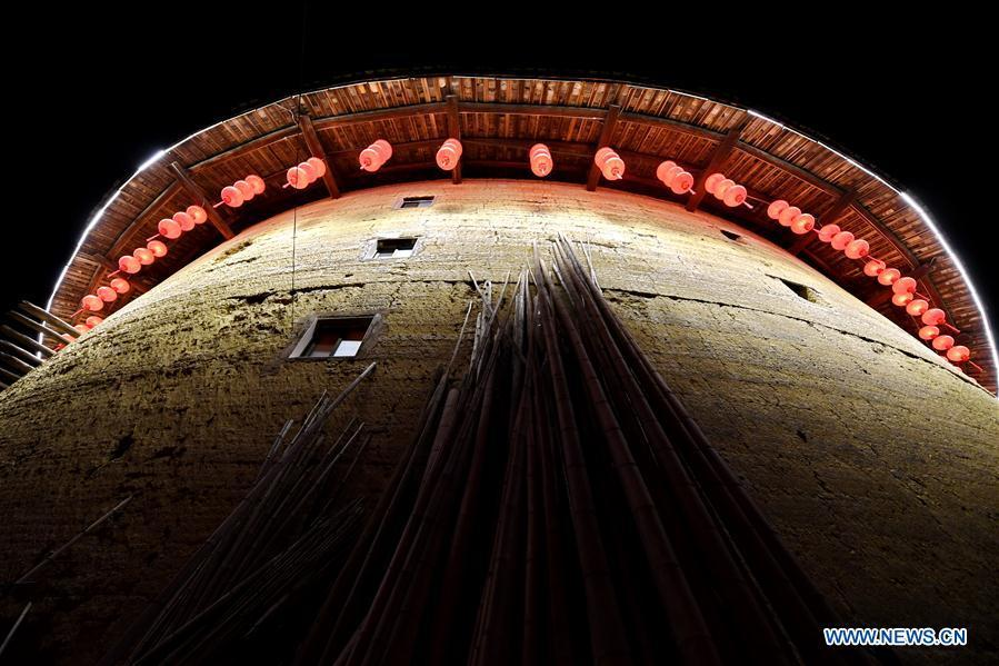Photo taken on Nov. 22, 2018 shows Cuimei Tulou in Kanxia Village in Nanjing County of Zhangzhou City, southeast China\'s Fujian Province. Fujian Tulou, which dates back to Song and Yuan dynasties, is a type of Chinese rural dwellings of the Hakka people in the mountainous areas in Fujian Province. The layout of Fujian Tulou followed the Chinese dwelling tradition of \