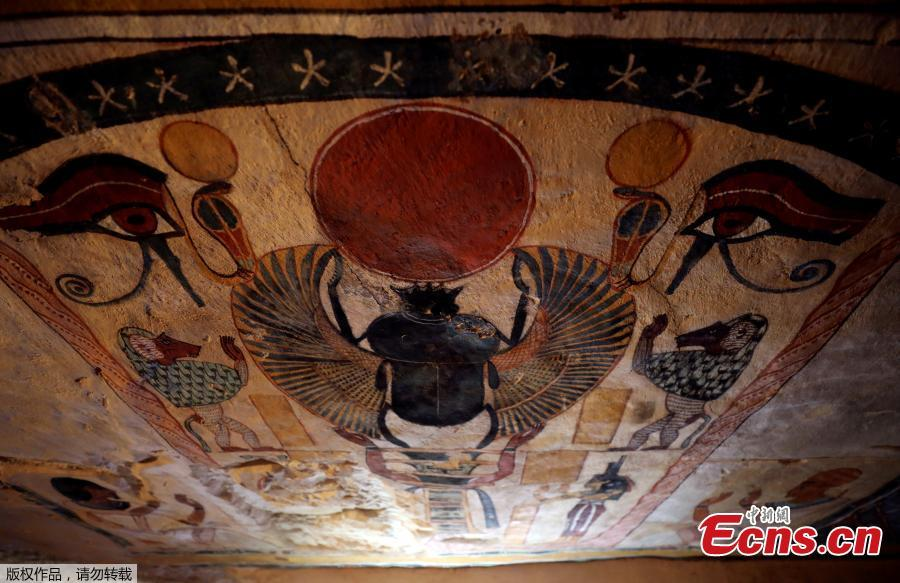 Ceiling paintings inside a newly discovered tomb at al-Assasif Necropolis in Luxor, Egypt November 24, 2018. (Photo/VCG)