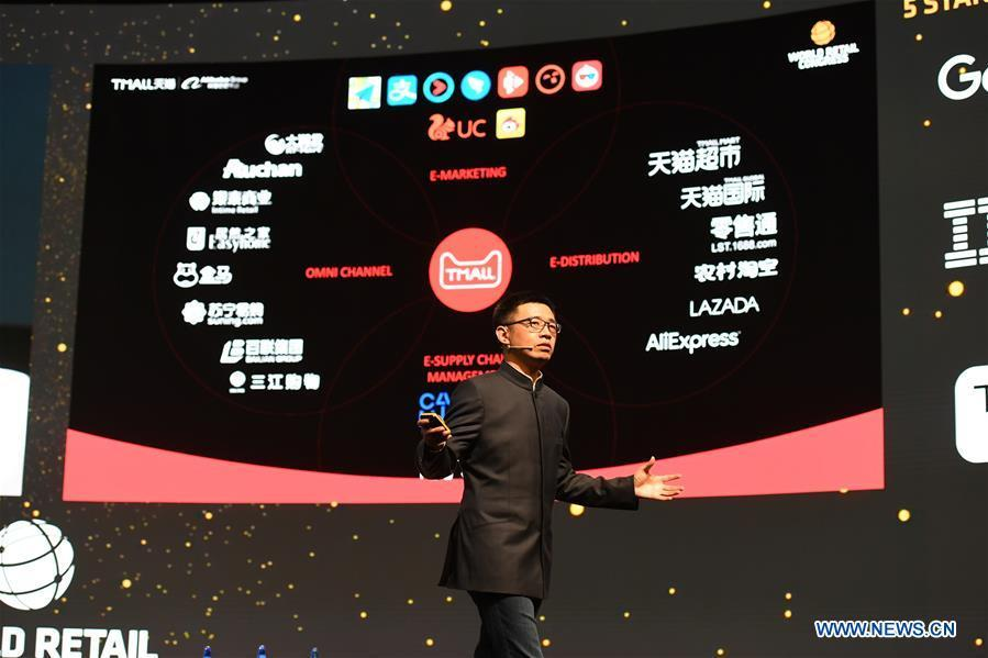 Jing Jie, the president of Alibaba Tmall, gives a speech at the World Retail Congress in Madrid, Spain, on April 17, 2018. More and more Spanish consumers accept Chinese high-tech brands, which now can be seen in daily life across Spain. (Xinhua/Guo Qiuda)